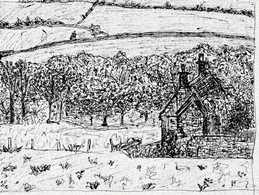 english countryside sketch
